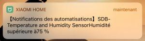 Notification automatique, ici de dépassement de seuil d'humidité (iOS)